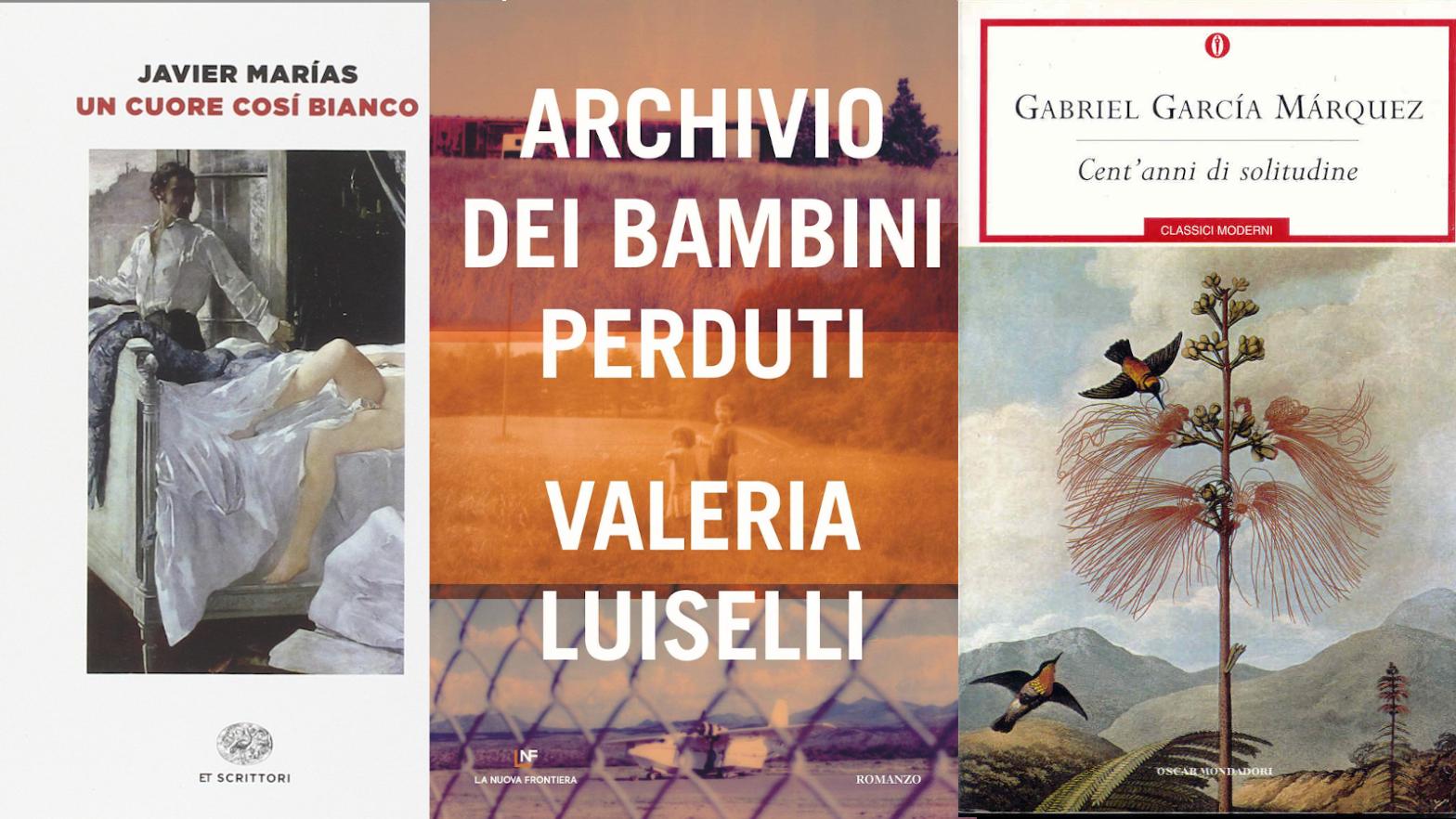Gli incipit di tre romanzi: Un cuore così bianco di Marias, Archivio dei bambini perduti di Luiselli, Cent'anni di solitudine di Marquez